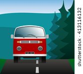 minibus on a forest road.... | Shutterstock .eps vector #413116132