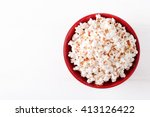 Popcorn In A Red Bowltop View