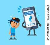 cartoon smartphone helping a... | Shutterstock .eps vector #413126836