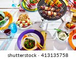 overhead well laid summer table ... | Shutterstock . vector #413135758