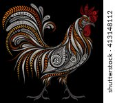 vintage rooster vector by new... | Shutterstock .eps vector #413148112