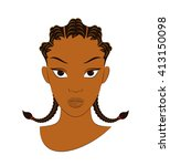 afro girl with corn row braid... | Shutterstock .eps vector #413150098
