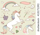 magic collection with unicorn ... | Shutterstock .eps vector #413171392