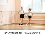 young dancers doing an exercise ... | Shutterstock . vector #413180446