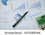 desk office with pen  analysis...   Shutterstock . vector #413188366