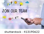join our team  person holding a ... | Shutterstock . vector #413190622