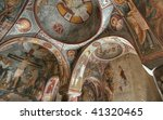 Old frescoes on the ceiling of the Elmali Kilise church - stock photo