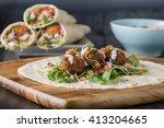 vegan falafel wrap with salsa...