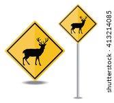 deer crossing road sign | Shutterstock .eps vector #413214085