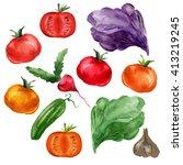 watercolor vegetable set  on... | Shutterstock . vector #413219245