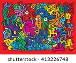 dancing party pattern with... | Shutterstock .eps vector #413226748