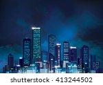vector night cityscape. | Shutterstock .eps vector #413244502