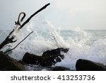 rare close up detail of wave at ...   Shutterstock . vector #413253736