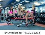 handsome girls posing while... | Shutterstock . vector #413261215
