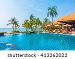 beautiful luxury swimming pool... | Shutterstock . vector #413262022