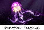 pink purple glowing jellyfish | Shutterstock . vector #413267638