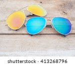 fashionable mirror sunglasses... | Shutterstock . vector #413268796