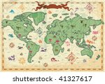 Retro-styled map of the World with trees, volcano, mountains and fantasy monsters. Vector illustration.