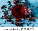 cup of karkadeh red tea with... | Shutterstock . vector #413290072