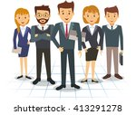 business team of employees and... | Shutterstock . vector #413291278