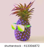 pineapple in a sunglasses on... | Shutterstock . vector #413306872
