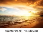 Sunrise And Atlantic Ocean In...