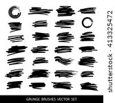 big set of grunge brush strokes. | Shutterstock .eps vector #413325472