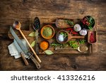 various colorful spices on... | Shutterstock . vector #413326216