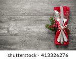 christmas table place setting.... | Shutterstock . vector #413326276