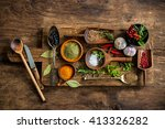 various colorful spices on... | Shutterstock . vector #413326282