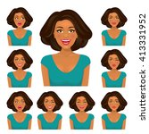 attractive brunette woman with...   Shutterstock .eps vector #413331952