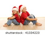 happy laughing christmas kids... | Shutterstock . vector #41334223