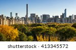 fall in central park with... | Shutterstock . vector #413345572