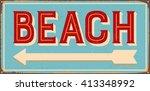 vintage metal sign   beach  ... | Shutterstock .eps vector #413348992