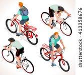 racing cyclist group sportsman... | Shutterstock .eps vector #413358676