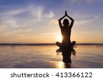 young fit woman using yoga... | Shutterstock . vector #413366122