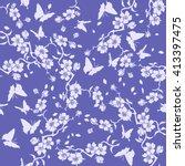 twig sakura blossoms and... | Shutterstock .eps vector #413397475