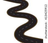 illustration of winding road on ... | Shutterstock . vector #413425912