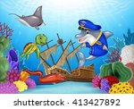 sea animals with shipwreck on... | Shutterstock .eps vector #413427892