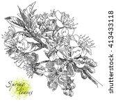 beauty hand drawn flowers | Shutterstock .eps vector #413433118