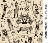 seamless circus pattern.vector...   Shutterstock .eps vector #413443558