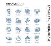 Simple Set of Finance Related Color Vector Line Icons.  Contains such Icons as Crowd Funding, Money Flow, Money Management, Investment Strategy and more. Editable Stroke. 64x64 Pixel Perfect.  | Shutterstock vector #413454106