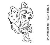 vector doodle elf fairy girl | Shutterstock .eps vector #413455876