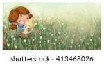 child and cat on the meadow   Shutterstock . vector #413468026