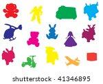 Multicolored Toys Silhouette...