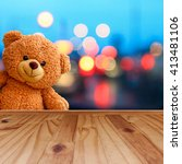 teddy bear with wooden floor... | Shutterstock . vector #413481106
