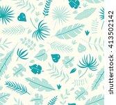 vector tropical leaves seamless ...   Shutterstock .eps vector #413502142