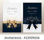 tow pretty wedding invitation... | Shutterstock .eps vector #413509636