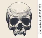 vector hand drawn skull   Shutterstock .eps vector #413511322