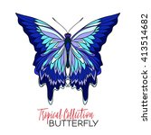 colored tropical butterfly.... | Shutterstock .eps vector #413514682